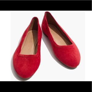 Madewell Reid Ballet Flats in Red Suede